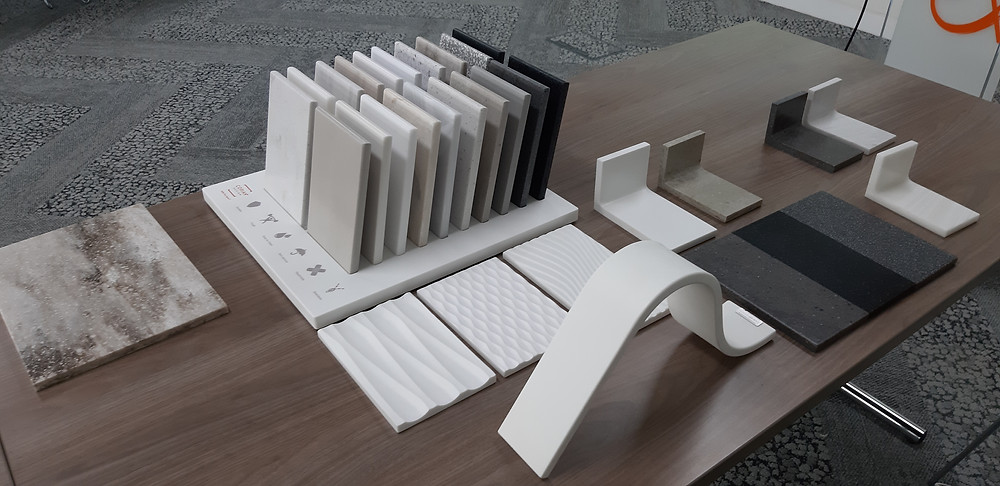 Corian samples showing colours and textures