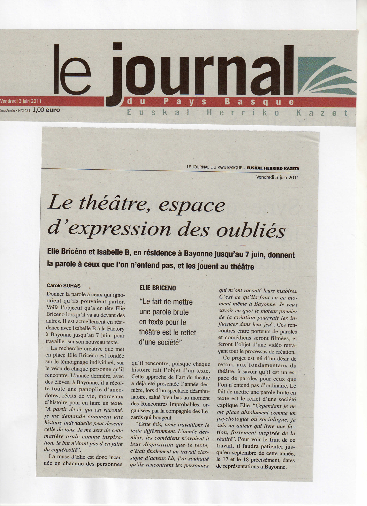 Elie Briceno - Le Journal du Pays Ba