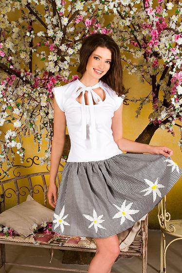 Пышная юбка в клетку с аппликациями. Дизайнерская юбка от Полины Ефимовой