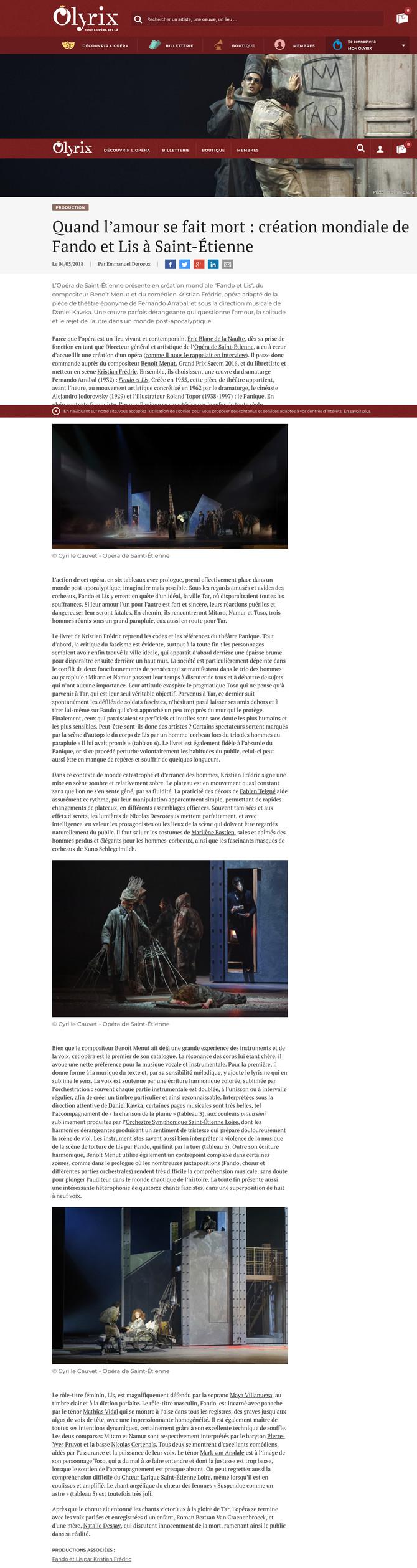Critique - Création mondiale Opéra Fando et Lis