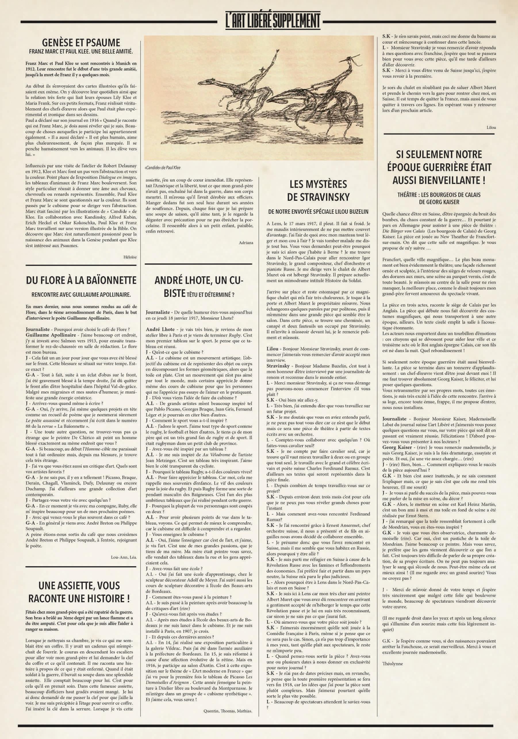 Journal L'Art Libéré - supplément