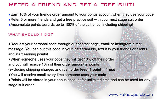 Referral progamfor fitness bikini, wellness, figure and physiue designr suits from Kata Stage Apparel