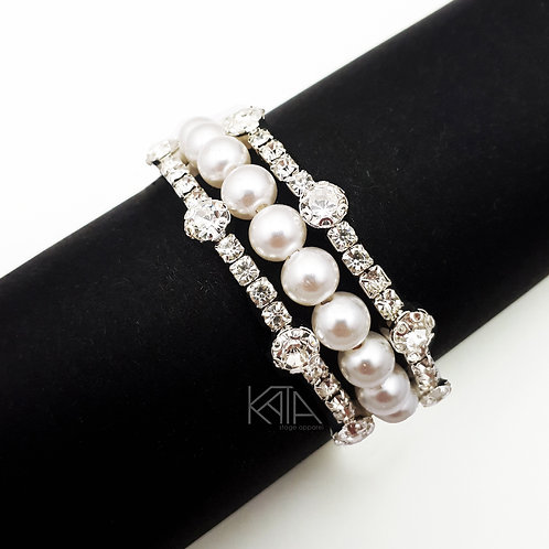 2304 Competition bracelet in silver/clear/pearls kata.apparel