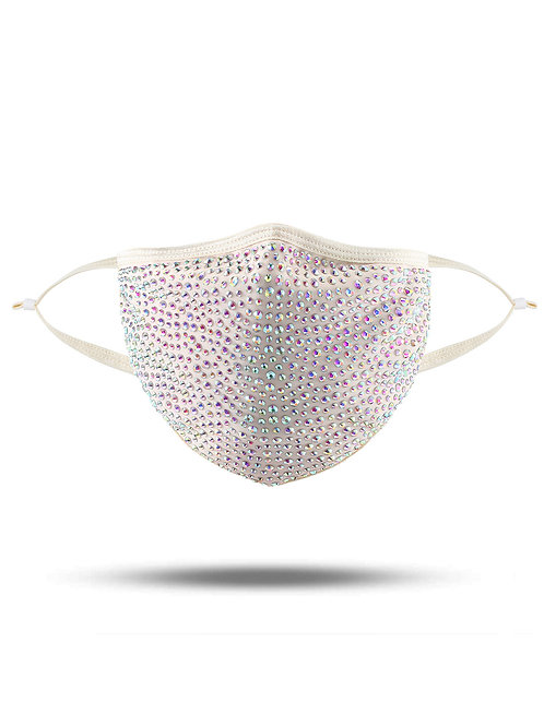 Crystal mask in beige with clear AB crystals kata.apparel