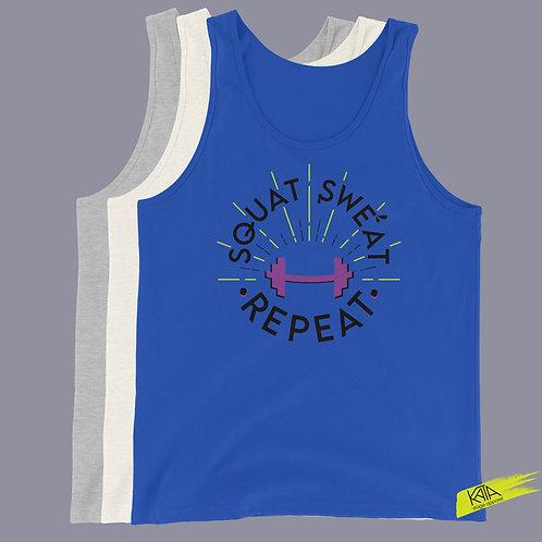 Squat Sweat Repeat tank top in color kata.apparel