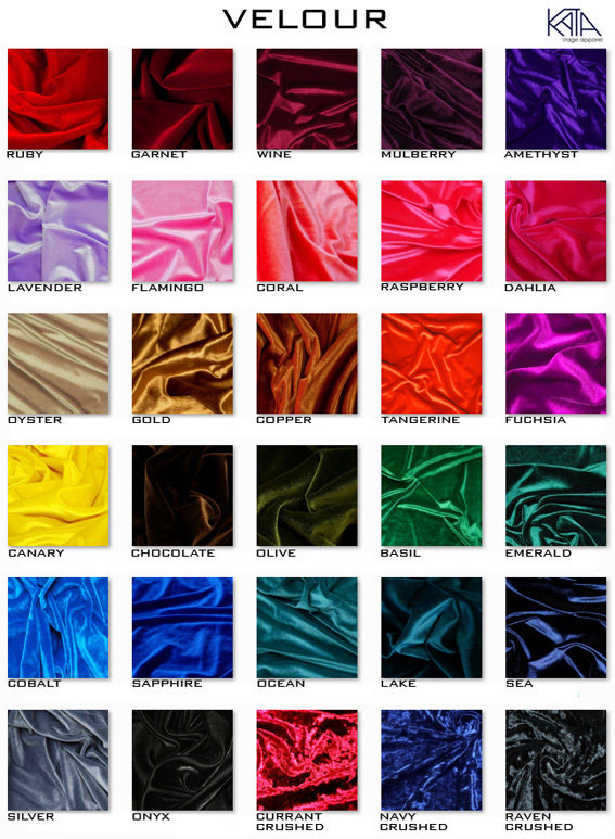 velour colors for competition bikinis