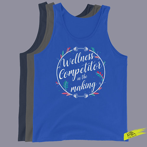 Wellness competitor in the making tank top in color kata.apparel