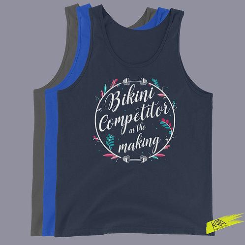 Bikini competitor in the making tank top in color kata.apparel