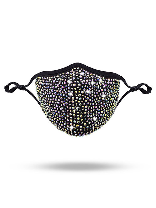 Crystal mask in black with clear AB crystals kata.apparel