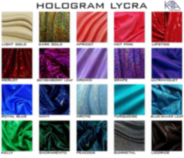 hologram lycra charts for competiion bikinis