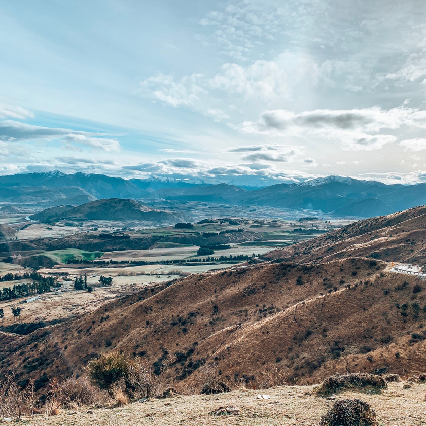 Overlooking the Queenstown Lakes District from the Crown Range Alpine Road