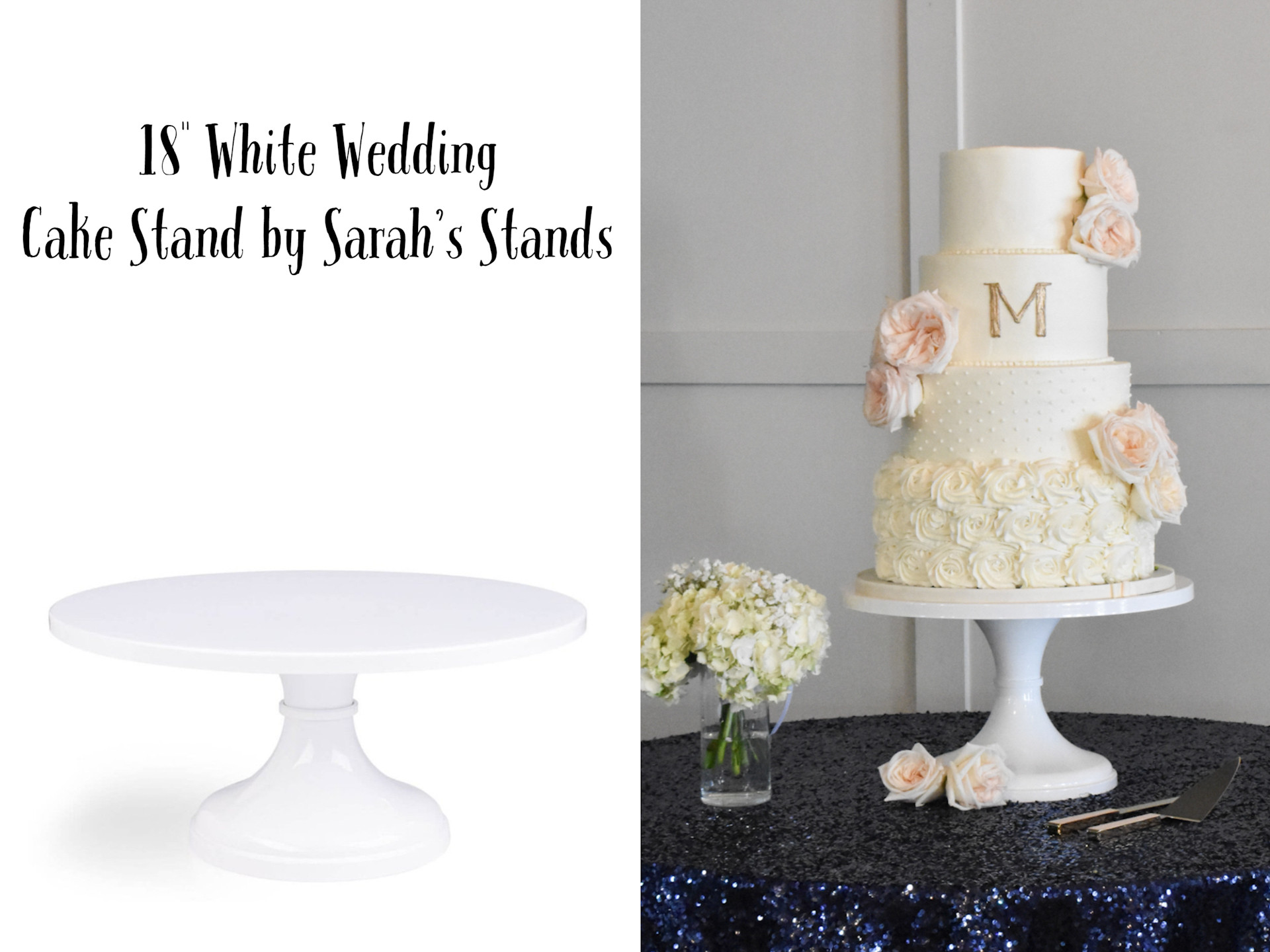 """18"""" White Wedding Cake Stand by Sarah's Stands"""