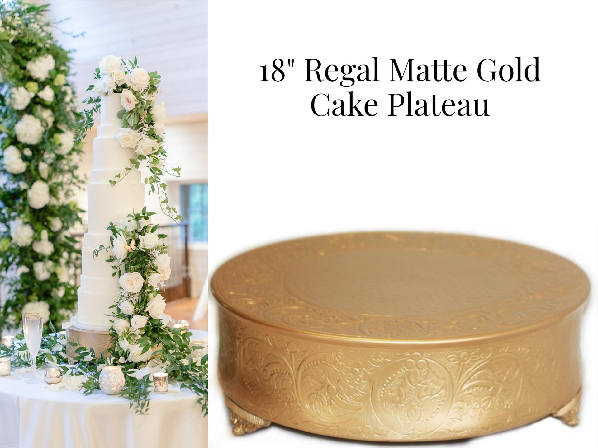 """18"""" Regal Matte Gold Cake Plateau"""