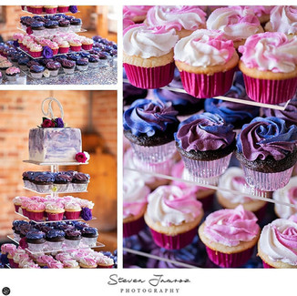Purple and Magenta cupcakes and cutting cake display