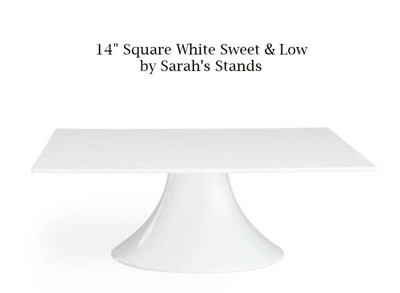 """14"""" Square White Sweet & Low Cake Stand"""