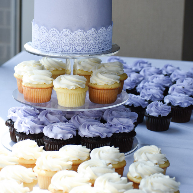 Lavender & Lace Cupcakes with a Cutting Cake