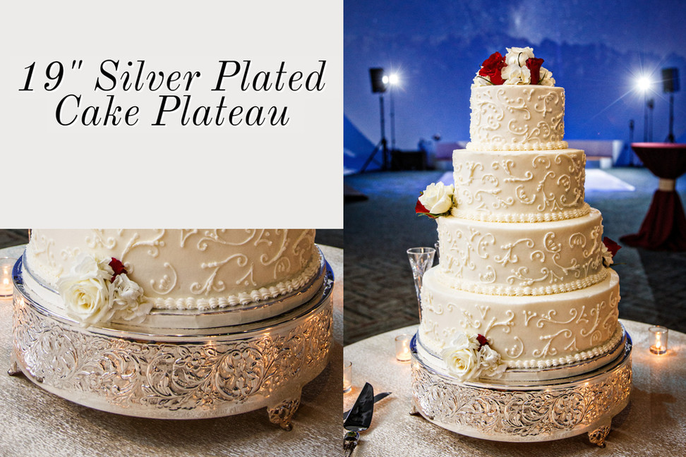 Embossed Silver Plated Cake Plateau