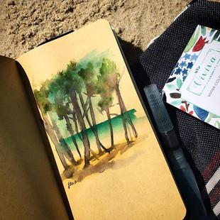 Casual summer draw #beach #watercolor ☀️