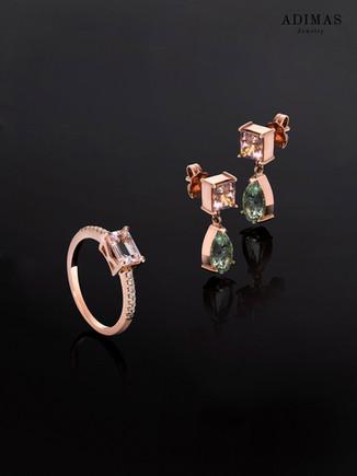 Mint & Pink Tourmaline Earings and Morganite Ring in 18k Rosegold