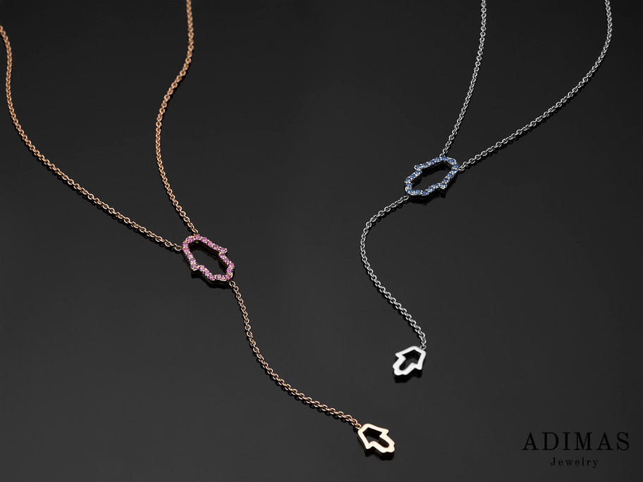 Chamsa Necklace with Pink and Blue Sapphires