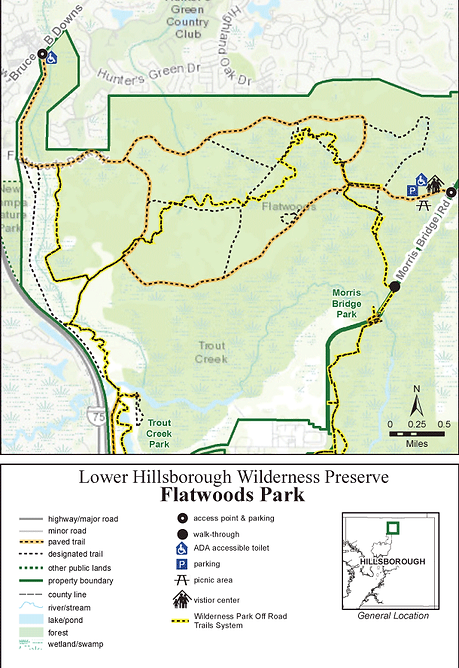 Map of Flatwoods Park, Tampa