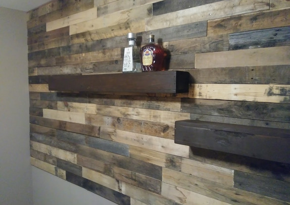 Pallet Wood Wall With Rustic Floating Shelves