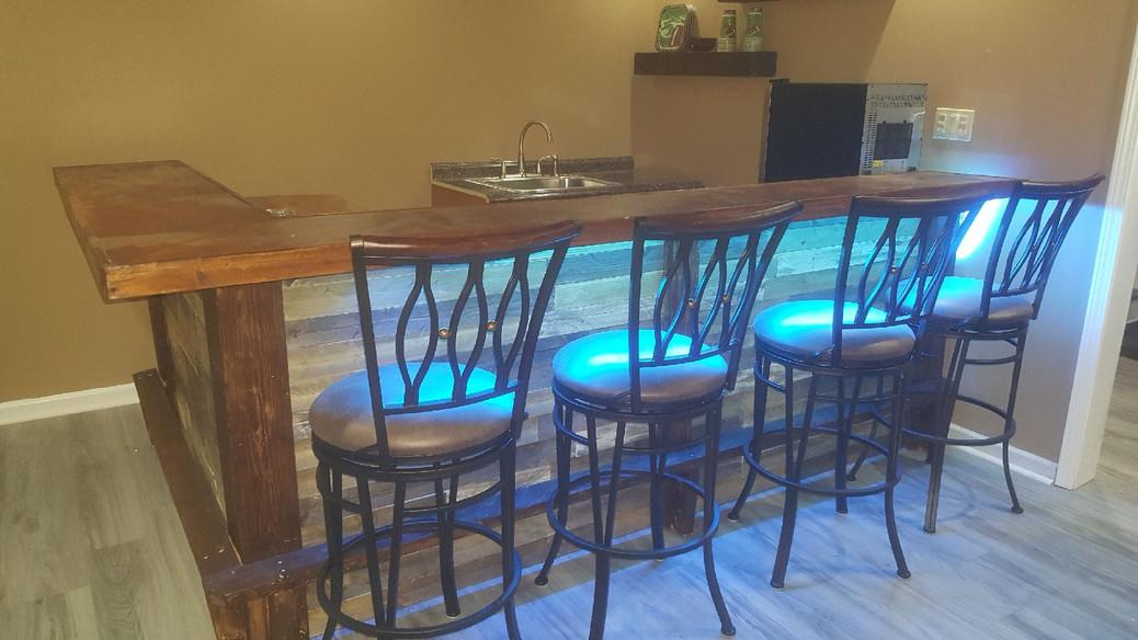 Customized LED Lit Bar With Bar Stools | Collective Decor