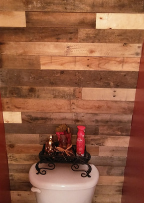 Bathroom With Pallet Wood Wall
