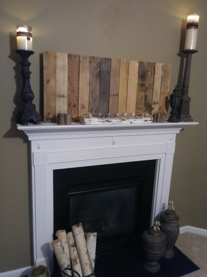 Decorative Pallet Wall Piece for Mantel.