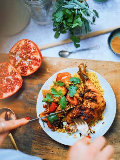 Harissa-Hähnchen mit Couscous