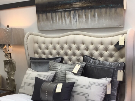 It's day 2 of our FLOOR SAMPLE SALE. This beautiful wingback queen headboard has been in our front w