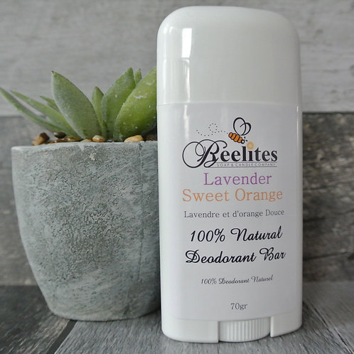 Beeswax Natural Deodorant- Lavender Sweet Orange