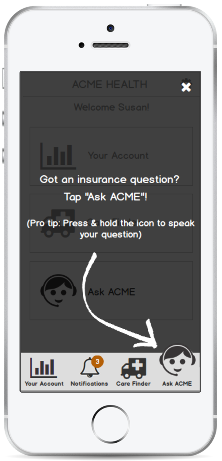 ACME Health: Onboarding screen