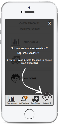 ACME Health: Onboarding screen