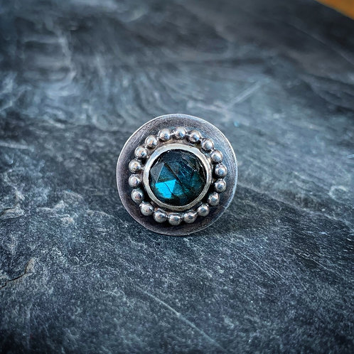 Faceted Labradorite Ring with Bead Detail, Size 7.5, 10mm
