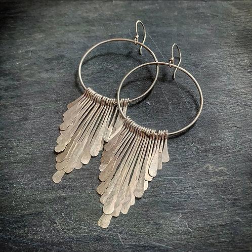 Large Sterling Fringe Earrings - Made to order