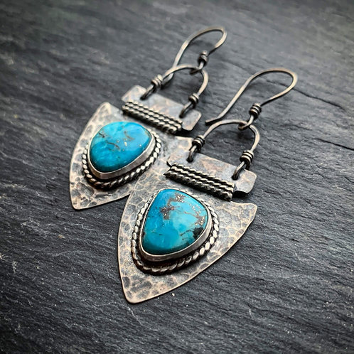 American Turquoise Arrowhead Earrings
