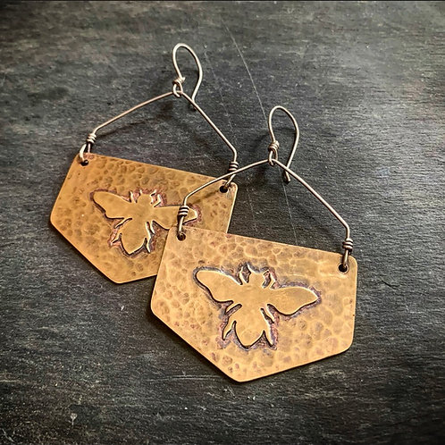 Hammered Brass Honeybee Earrings - Made to Order