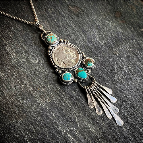 Buffalo Nickel Pendant with American Turquoise
