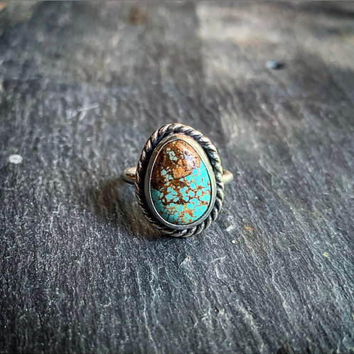 American Turquoise Ring with Rope Border, Size 6