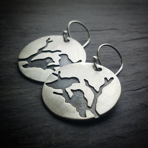 Paired Ravens in Sterling Silver - Made to Order