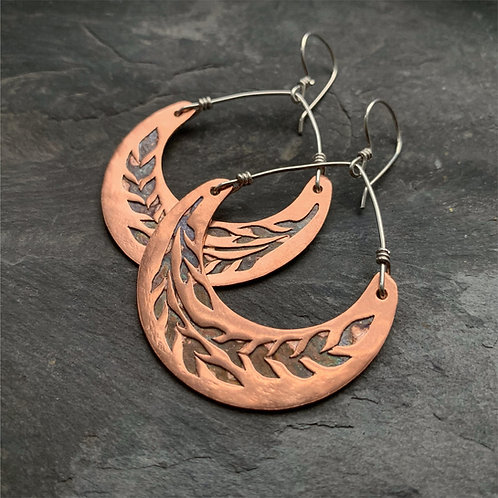 Copper Crescent Wheat Earrings - Medium - Made to Order