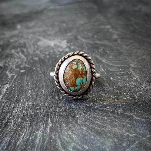 American Turquoise Ring with Rope Border, Size 8