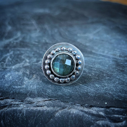 Faceted Labradorite Ring with Bead Detail, Size 6.5, 10mm