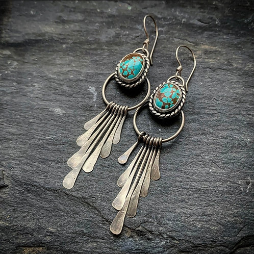American Turquoise Fringe Earrings