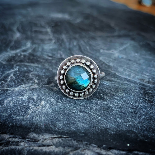 Faceted Labradorite Ring with Bead Detail, Size 8, 10mm