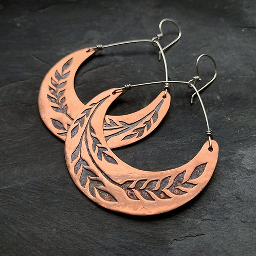 Copper Crescent Wheat Earrings - Large - Made to Order