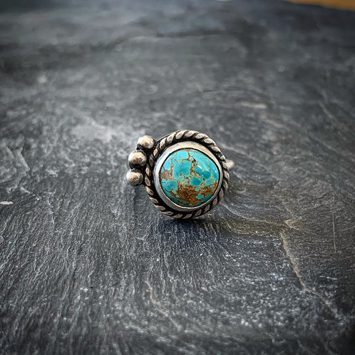 Cactus Blossom Ring with American Turquoise, size 7