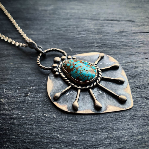 Sunburst Pendant with American Turquoise