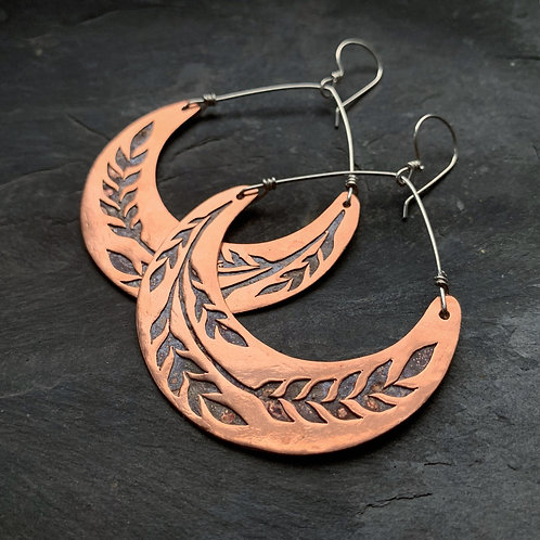 Copper Crescent Wheat Earrings - Large - Wholesale